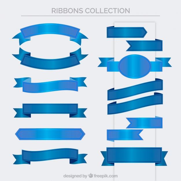 626x626 Set Of Vintage Blue Ribbons Vector Free Download