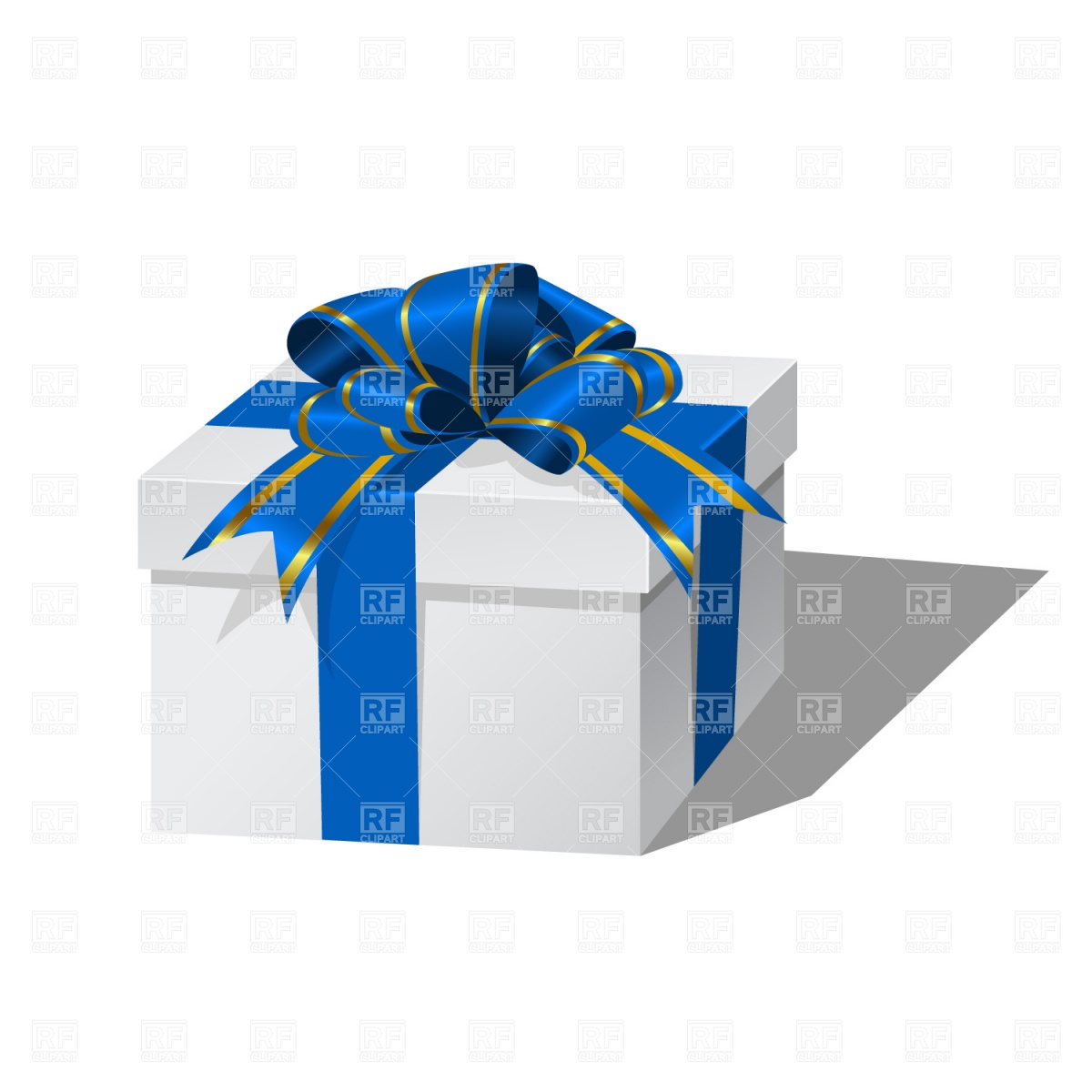 1200x1200 White Gift Box With Blue Ribbon Vector Image Vector Artwork Of