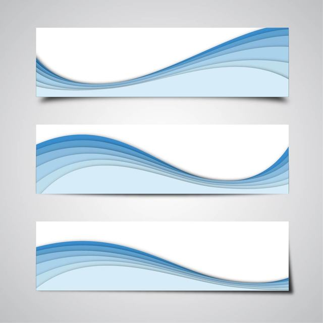 640x640 3 Abstract Banners With Blue Waves