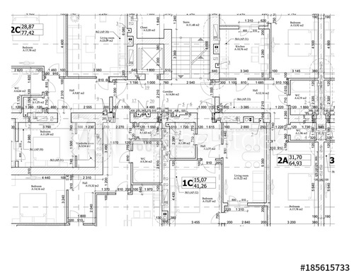 500x389 Part Of A Detailed Architectural Plan, Floor Plan, Layout