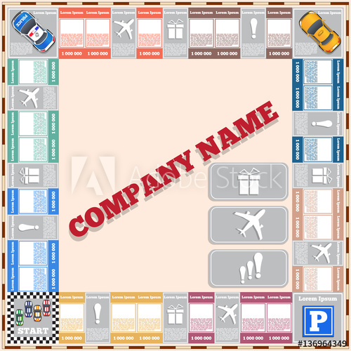500x500 Board Game. Vector Design For App Game User Interface.