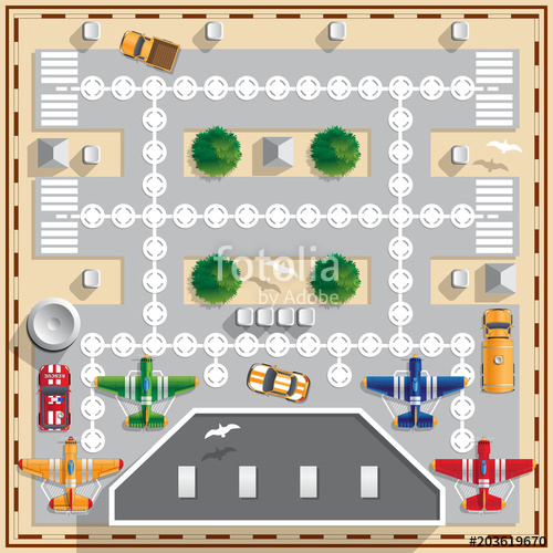 500x500 Airport. Board Game. Vector Illustration. View From Above. Stock