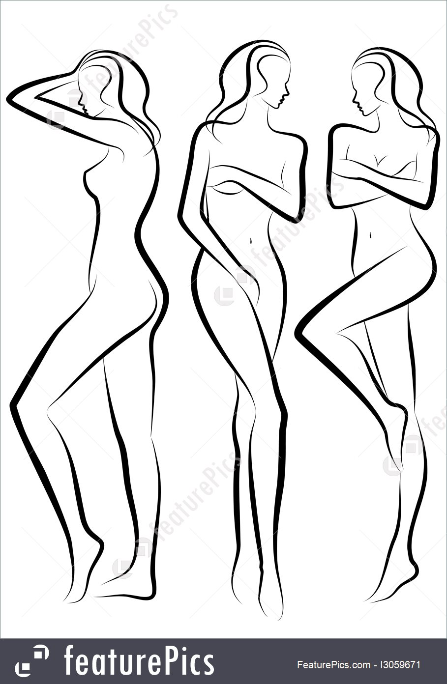 909x1392 Silhouettes And Outlines Woman Body, Vector