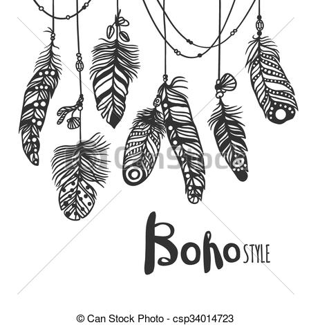 450x470 Boho Feather Hand Drawn Effect Vector Style Illustration. Vector