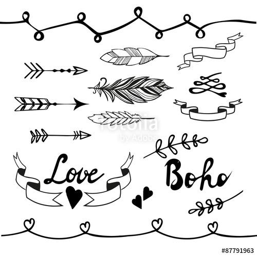 500x498 Collection Of Boho Doodle Design Elements. Vector Illustration