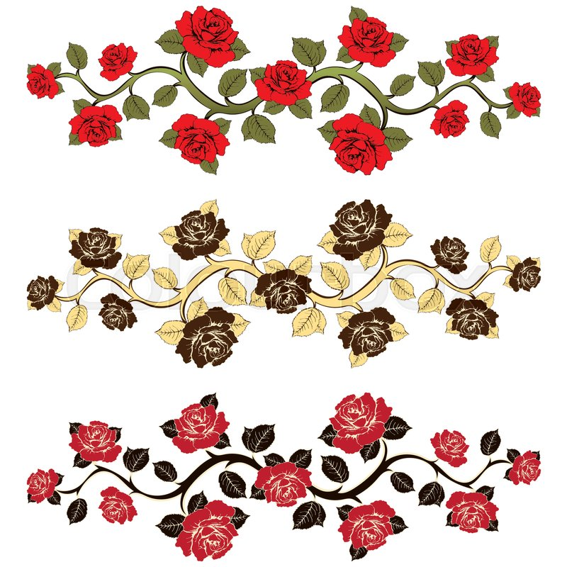 800x800 Flower Branch Roses Set. Ornament With Roses. Floral Print. Floral