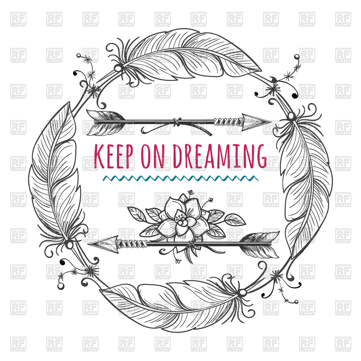 1200x1200 Frame With Boho Arrows And Feathers Vector Image Vector Artwork