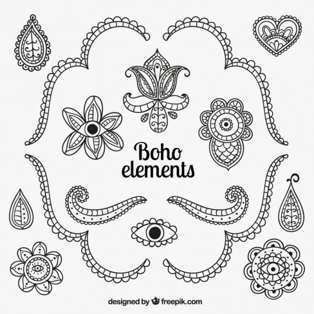 626x626 Hand Drawn Boho Elements Vector Free Download
