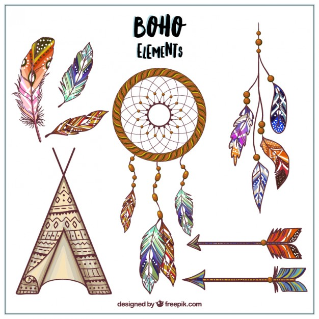 626x626 Hand Drawn Boho Style Designs Vector Free Download