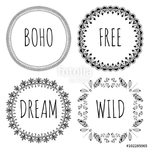 500x500 Set Of Boho Style Frames And Hand Drawn Elements. Set Of