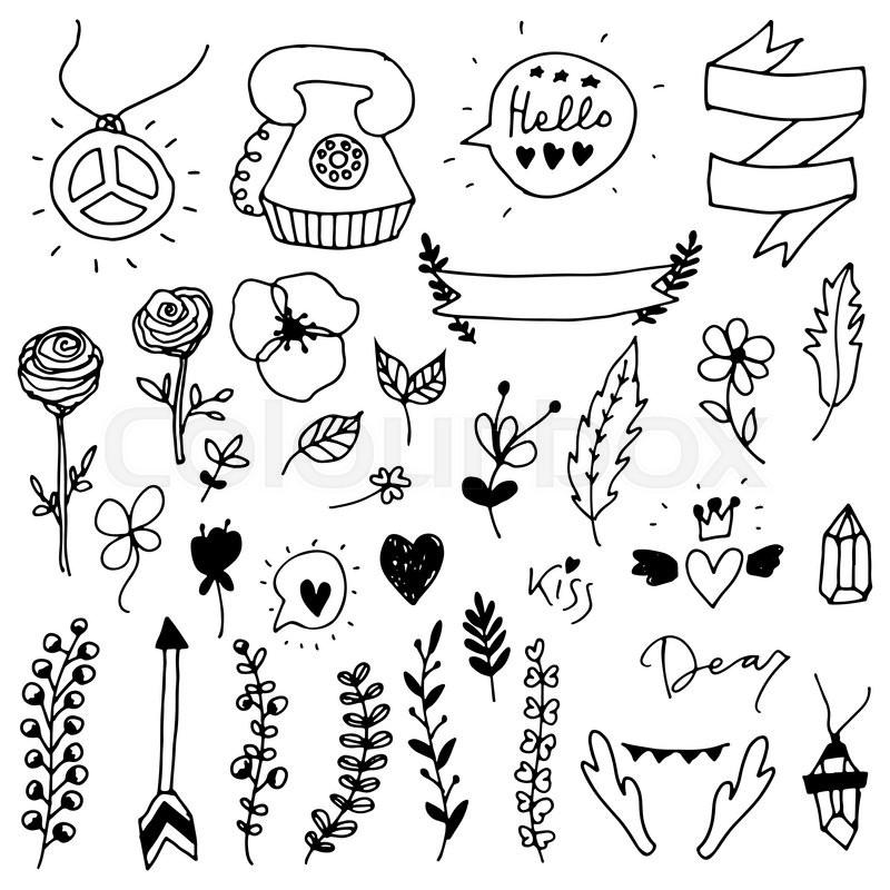 800x800 Set Of Doodle Design Elements.vector Floral Elements. Boho Theme