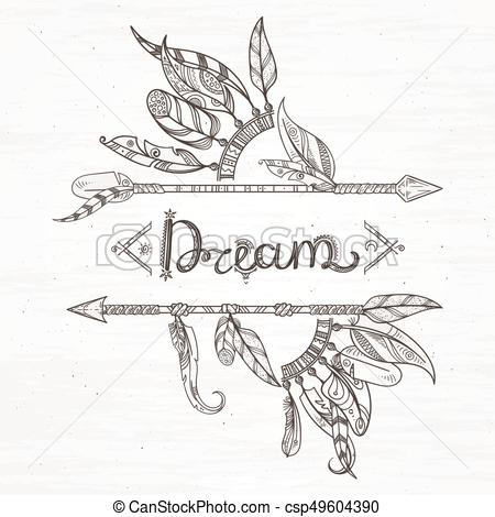 450x470 Tribal Feathers And Arrow. Hand Drawn Vector Illustration