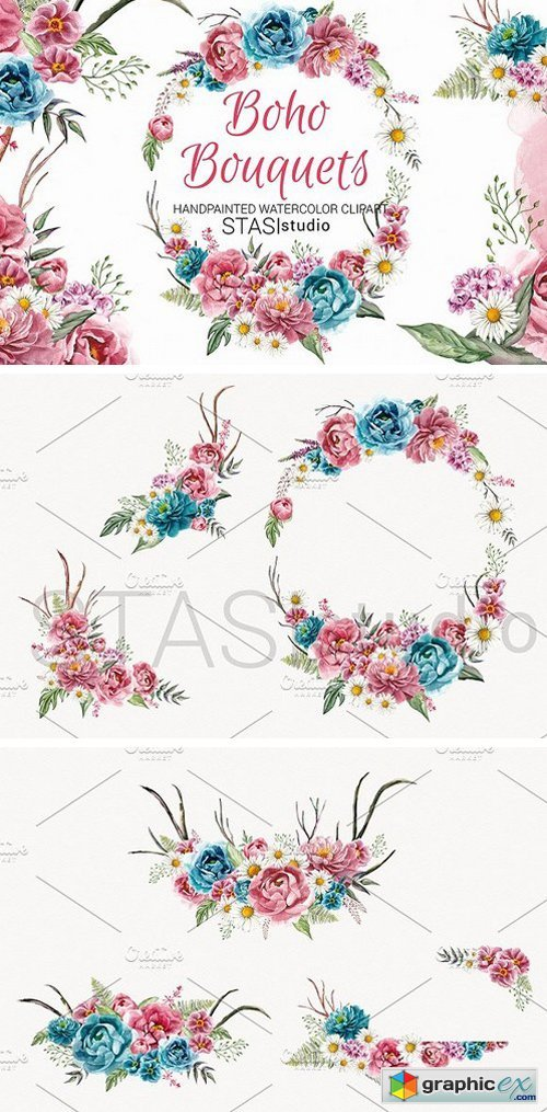 500x1015 Boho Bouquets Watercolor Clipart Free Download Vector Stock
