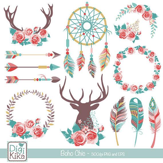 570x570 Boho Chic Clipart, Rustic Wedding Clip Art, Tribal Vector Graphics