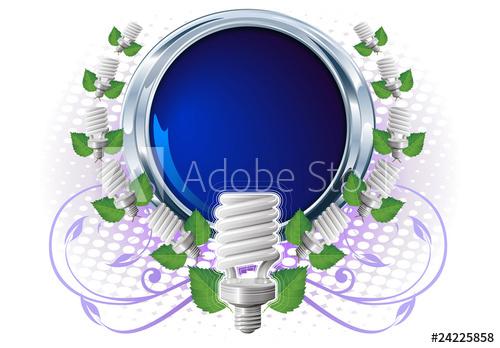 500x348 Bombillo En Banner Circular Azul Y Elementos Naturales