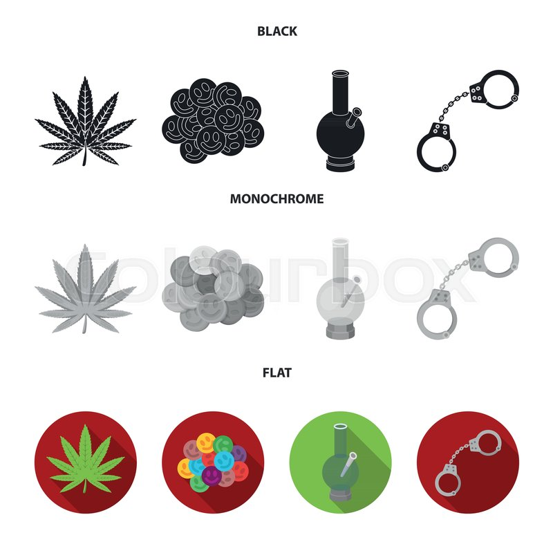 800x800 Hemp Leaf, Ecstasy Pill, Handcuffs, Bong.drug Set Collection Icons