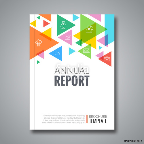 500x500 Cover Report Colorful Triangle Geometric Pattern Design Background