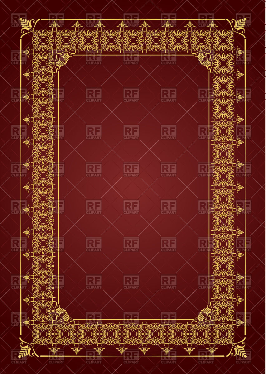 853x1200 Golden Frame With Decorative Border For Book Cover Vector Image