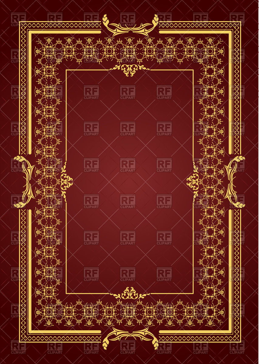 853x1200 Graceful Square Frame For Book Cover With Ornamental Border Vector