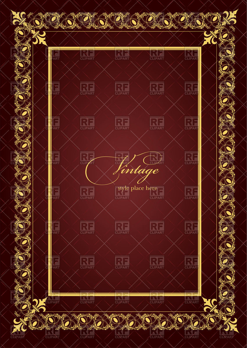 851x1200 Theatrical Brochure Or Book Cover Template With Golden Vintage