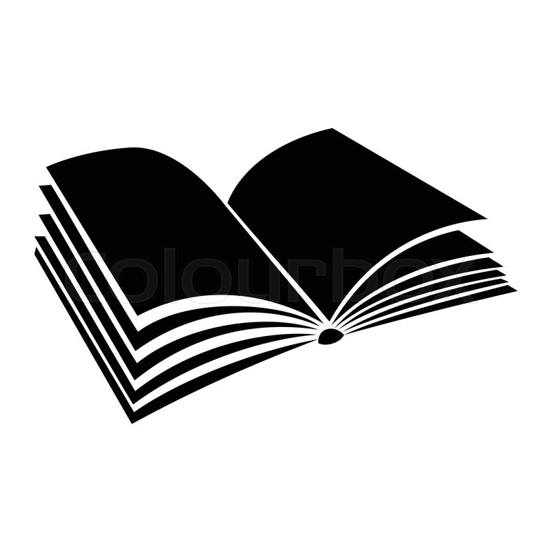800x800 Opened Book With Pages Fluttering Black Simple Icon On A White