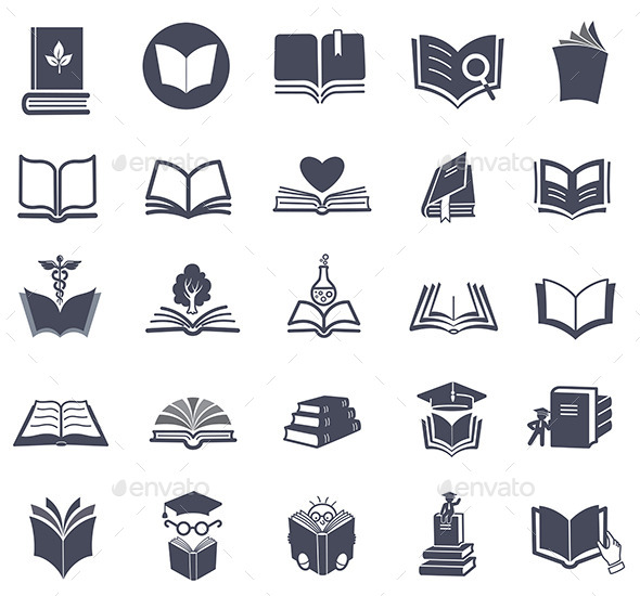 590x550 Set Of Vector Book Icons. By Vectorgirl Graphicriver