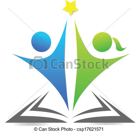 450x430 Book And Children Graphic Logo. Book And Children Illustration Vector.