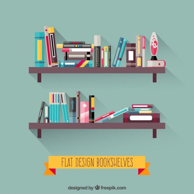 626x626 Bookshelves In Flat Design Vector Free Download