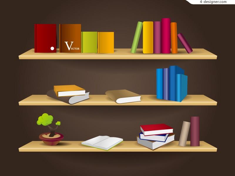 800x600 4 Designer Creative Wooden Bookshelf Vector Material