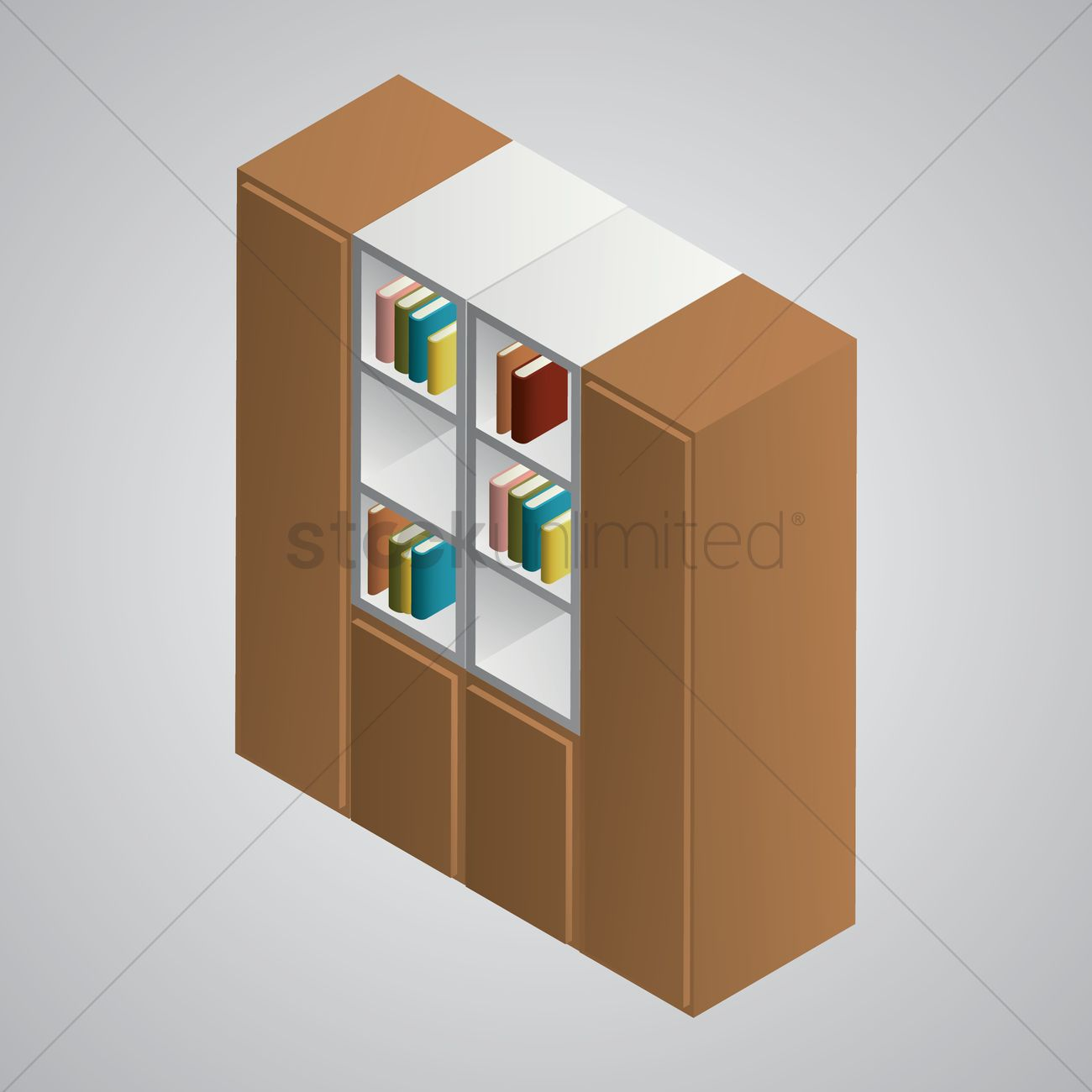 1300x1300 Isometric Bookshelf Vector Image