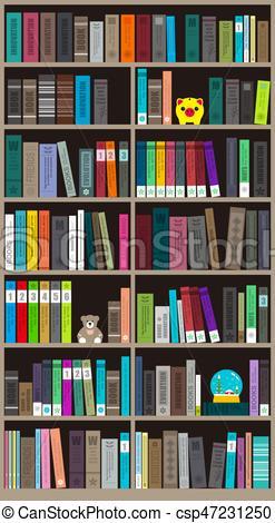 247x470 Many Books On The Bookshelf, Vector Illustration. Many Books