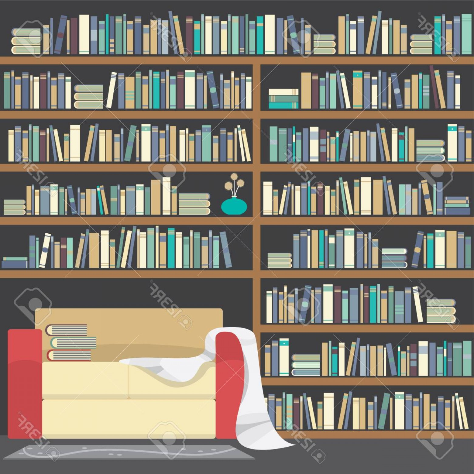 1560x1560 Photostock Vector Modern Sofa With Huge Bookshelf Vector
