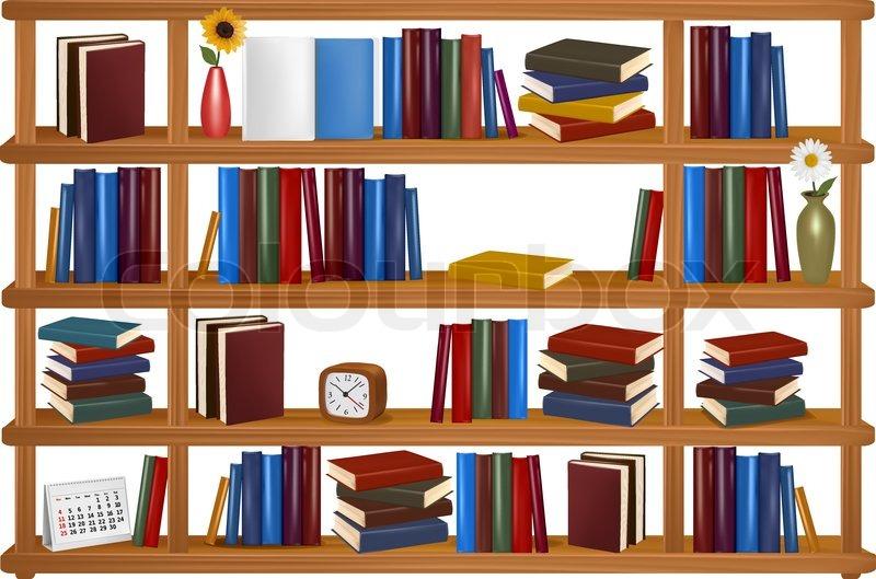 800x529 Vector Wooden Bookshelves. Stock Vector Colourbox