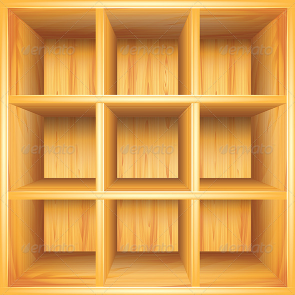 590x590 Wooden Bookshelf, Vector Background By Andegro4ka Graphicriver