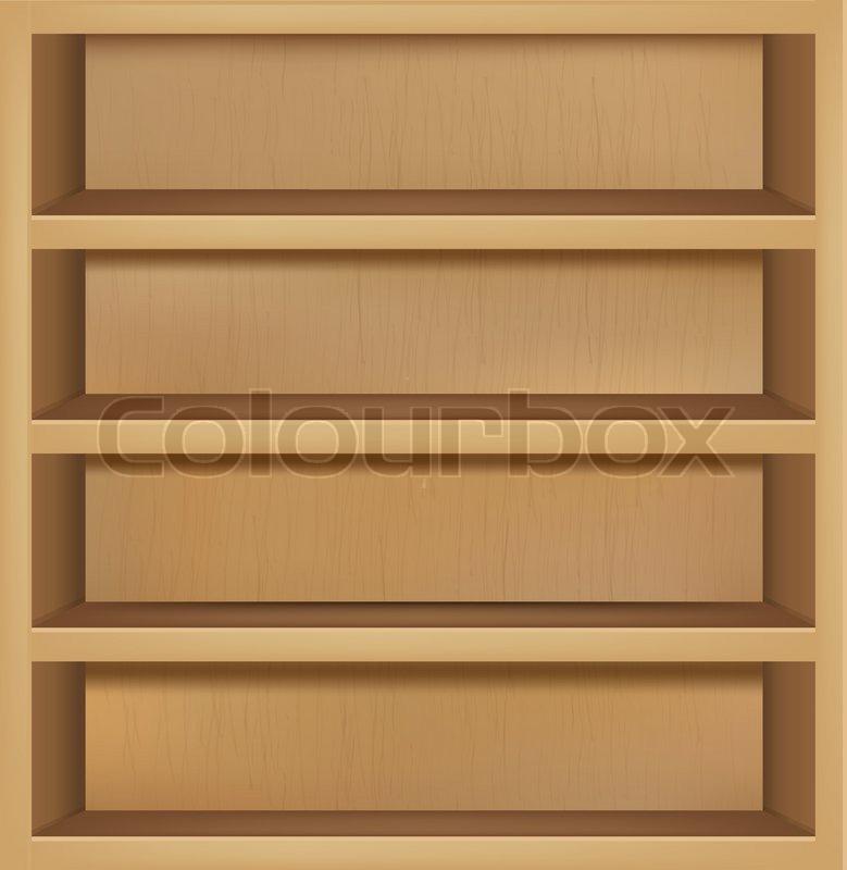 779x800 Wooden Empty Bookshelf, Vector Illustration Stock Vector Colourbox