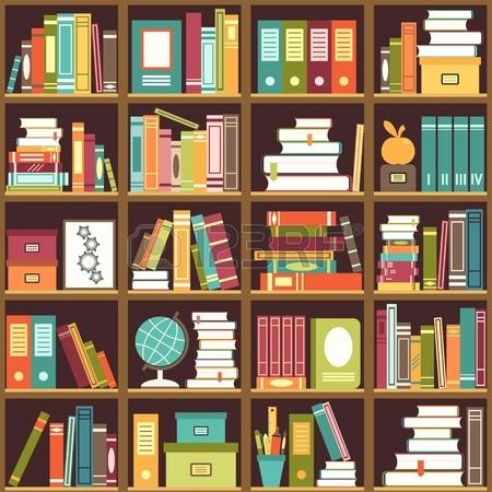 450x450 Bookshelf Pictures Seamless Pattern With Books On Bookshelves