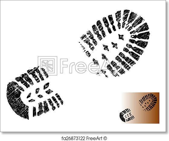 560x470 Free Art Print Of Grungy Bootprint. Grungy Bootprint