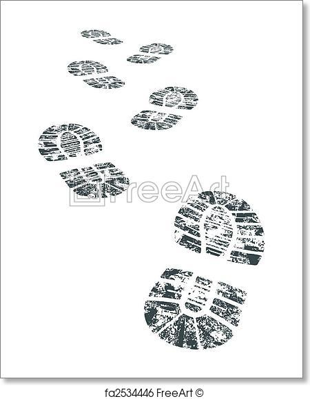 450x580 Free Art Print Of Vector Bootprint. Detailed Black And White