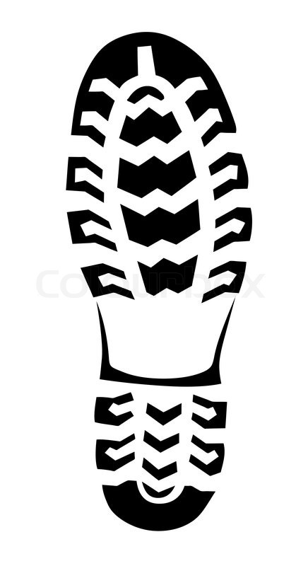 436x800 Boot Trace On White Background, Vector Illustration Stock Vector