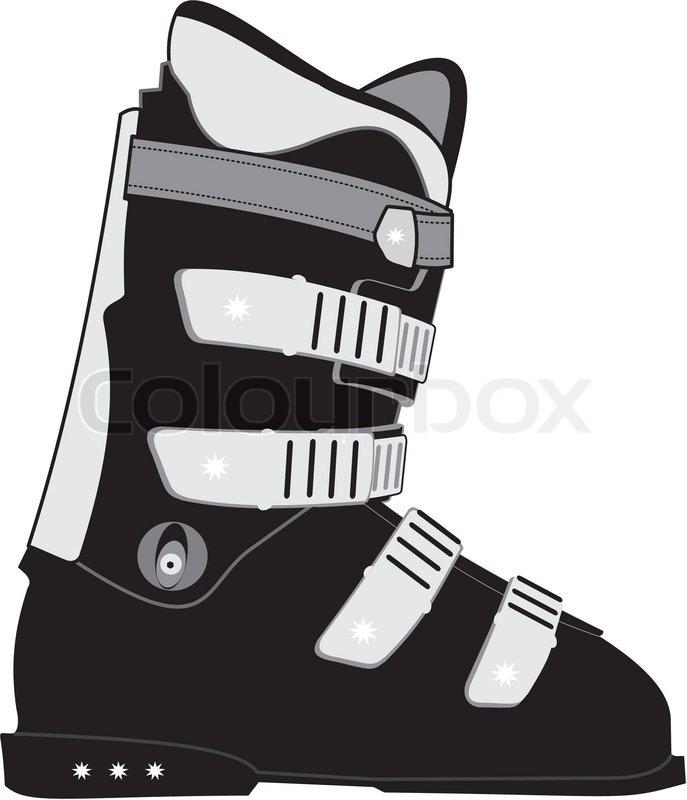 687x800 Isolated Illustration Of Ski Sports Boot On White Background
