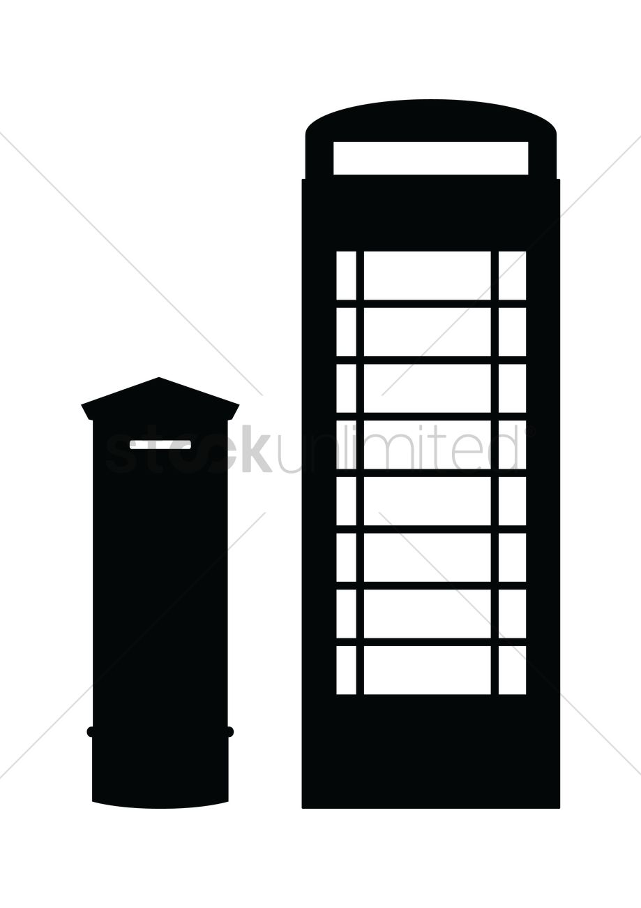 919x1300 Silhouette Of Post Box And Phone Booth Vector Image