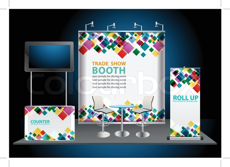 800x584 Vector Blank Roll Up Banner Display, With Trade Show Booth Stock
