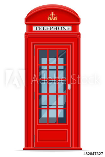334x500 London Red Phone Booth Vector Illustration