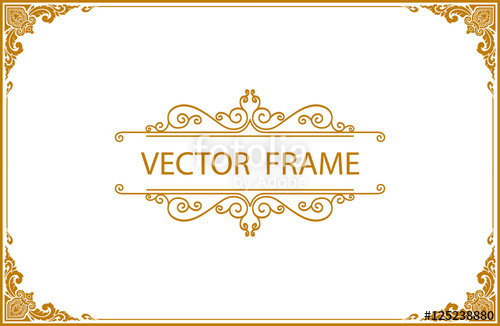 500x326 Gold Photo Frame With Corner Line Floral For Picture, Vector