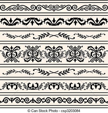 450x470 Set Of Floral Vector Borders. Set Of Floral Borders, Design