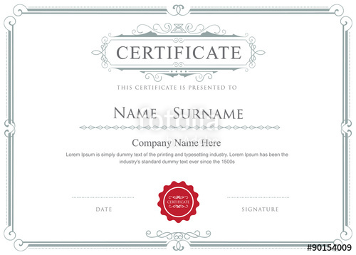 500x358 Certificate Border Vector Elegant Flourishes Template Stock Image