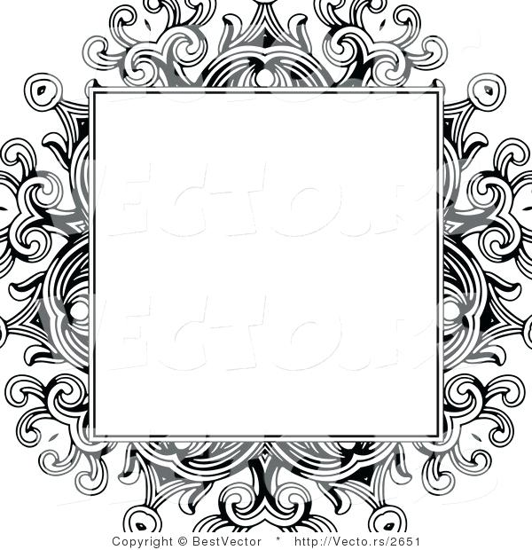 600x620 Floral Design Border Vector Of Formal Blank Box Over A Black