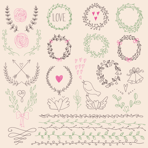 500x500 Hand Drawn Floral Frame With Border Vector 01 Free Download