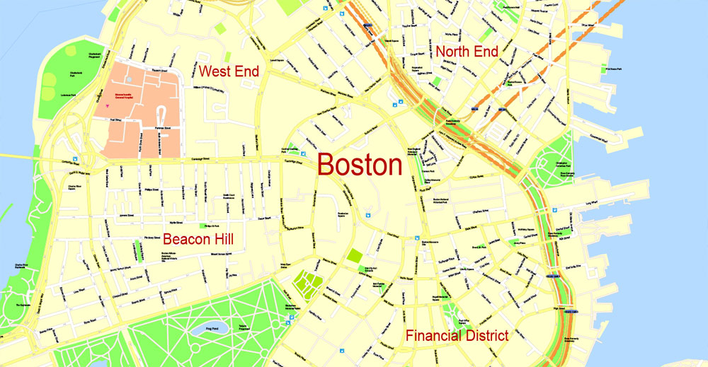 Boston Map Vector At Getdrawingscom Free For Personal Use Boston - Massachusetts-on-the-us-map