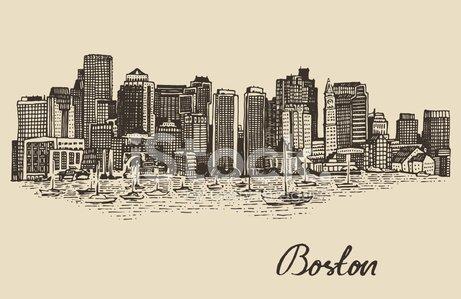 461x299 Boston Skyline Vintage Vector Illustration Sketch Premium Clipart